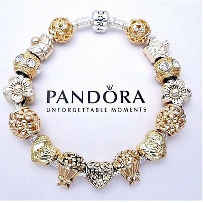 Authentic Pandora Silver Bangle Bracelet With Rose Gold Love