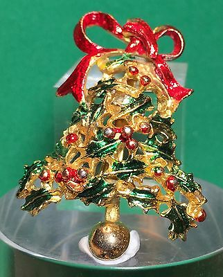 Vintage Gold Christmas Brooch Bell Holly Pin Holiday Enamel Ugly Sweater AddOn