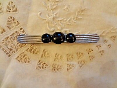 Vintage Art Deco 1920's jewelry pin brooch or hat bar silver black bead 3.5 ""