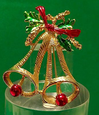 Vintage Gold Christmas Brooch Bell Holly Pin Red Green Enamel Ugly Sweater AddOn
