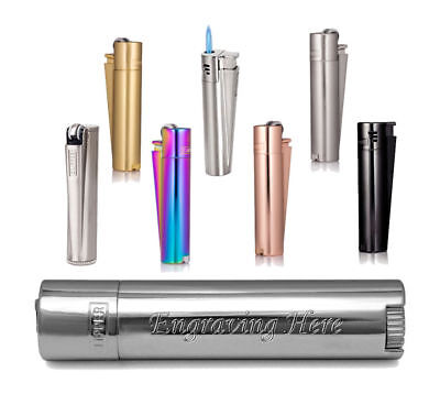 Personalised Traditional Silver Metallic Clipper Cigarette Lighter Engraved Gift