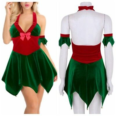 US Womens Christmas Elf Costume Velvet Halter Fancy Dress Holiday Party Outfits