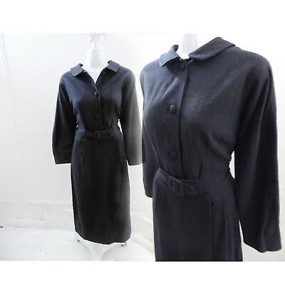 Vintage 1940s Suit Dress Size M Charcoal Gray Wool Rockabilly Secretary Vtg 50s