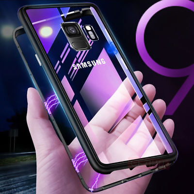 Magnetic Absorption Metal Case Tempered Glass Cover For Samsung Note 9 S9 Plus