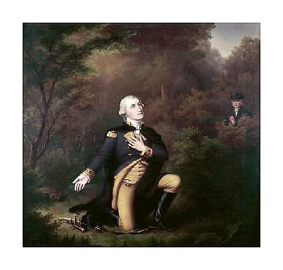 Paul Weber George Washington In Prayer At Valley Forge Giclee 21.75x20.5