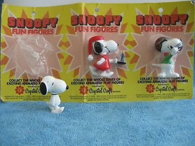 Crystal Craft SNOOPY FUN FIGURINES Bedtime Snoopy, Red Baron Snoopy NEW vintage