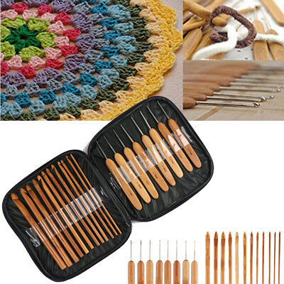 Bamboo Crochet Hook 1-10mm Set of 20 Handle DIY Wooden knitting needle with case