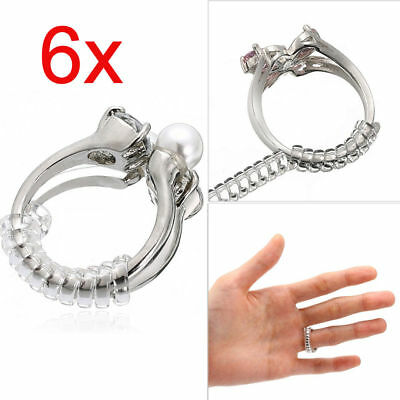 6Pcs Ring Size Adjuster Spiral Tightener Stretcher Rings Reducer Resizing
