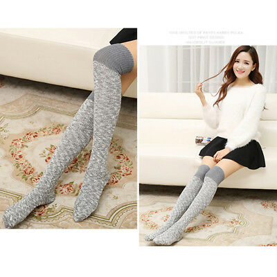 2966417b417 Women Over Knee Wool Knit Long Socks Winter Thigh-Highs Warm Socks Stocking  Z