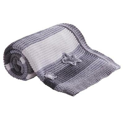 Clair de Lune Pick-N-Mix Cotton Knitted Blanket (Grey) For Baby`s Pram or Cot