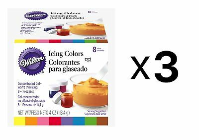 Wilton Set Of 8 Icing Colors For Cake Decorating Fondant Frosting 1/2oz (3-Pack)