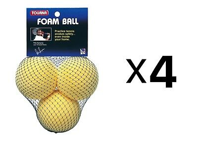 Tourna Foam Tennis Practice Youth Balls, Kids Training Aid-3 Pack (4-Pack)