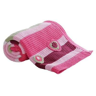 Clair de Lune Pick-N-Mix Cotton Knitted Blanket (Pink) For Baby`s Pram or Cot