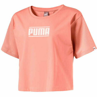 Puma Kids Style Tee Girls Junior Cropped Top T-Shirt Peach 594963 31 RW84