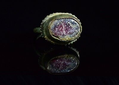 Late Medieval Tudor Period Bronze Ring With Gem Stone  - T82