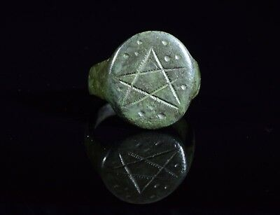 Medieval Period Bronze Cult Ring With Pentagram Motif On The Bezel - T85