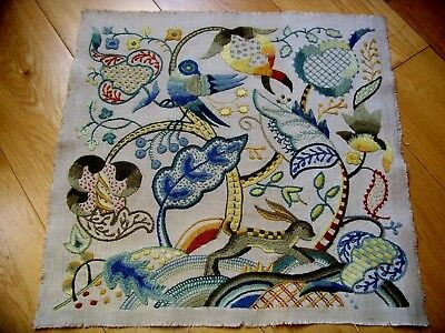 Vintage Hand Embroidered Crewel Picture Panel Jacobean Tree Hare Bird Gorgeous