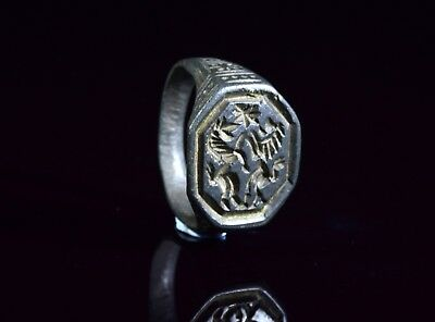 Medieval Crusaders Period Bronze Heraldic Seal Ring With Lion & Unicorn - T88