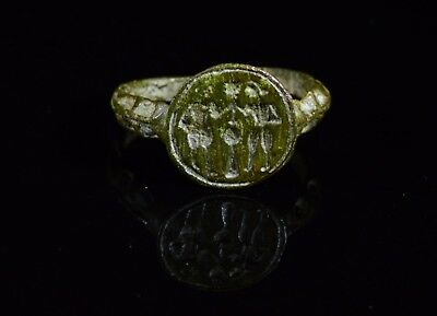 Medieval Period Bronze Religious Ring With Adam And Eve On The Bezel - T90
