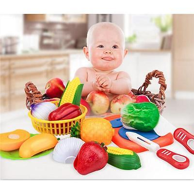 Kids Pretend Role Play Cooking Kitchen Fruit Vegetable Food Toy Cutting Toy CB