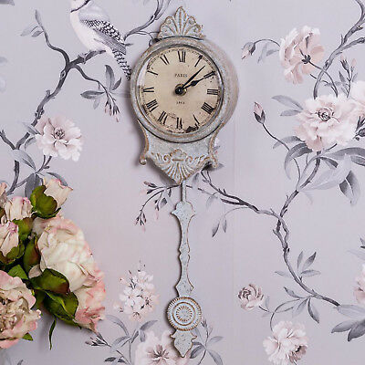 Antique Cream Pendulum Wall Clock Ornate Roman Numerals Shabby Vintage Chic Home