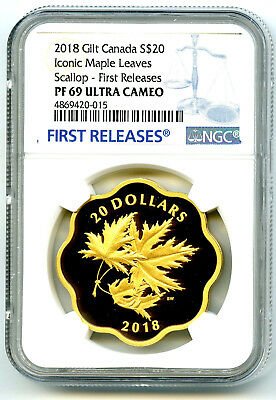 2018 $20 Canada Gold Gilt Silver Ngc Pf69 Masters Club Iconic Maple Leaves Fr