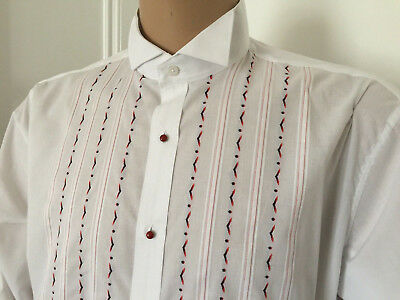 """Wing Collar Embroidered Dress Shirt Tuxedo Festive Formal Party 48/50 X 17"""" 2Xl"""