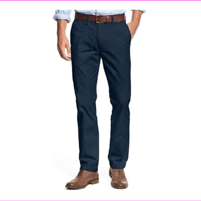 Tommy Hilfiger Chino Pants Mens Tailored Fit Flat Front Flag Logo