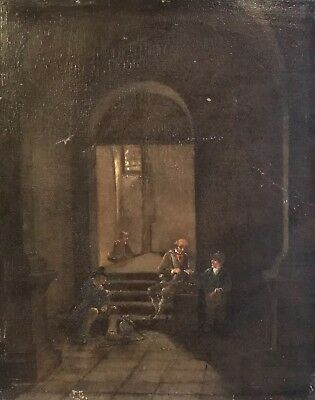 18Th Century French Oil On Wood Panel - Figures In Vaulted Interior - Expertised
