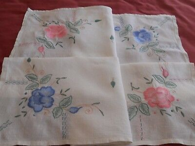 STUNNING Vintage white linen TABLECLOTH hand heavy embroidered floral motif