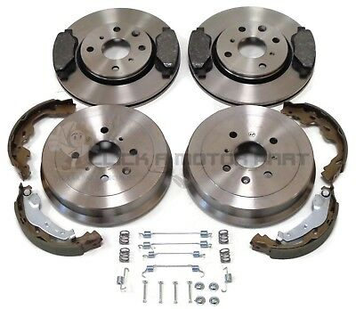 SKODA FABIA 00-07 FRONT 2 BRAKE DISCS /& PADS REAR 2 DRUMS /& SHOES CHECK SIZE