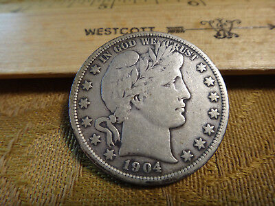 1904 United States Barber Silver Half Dollar 50c - Free S&H USA