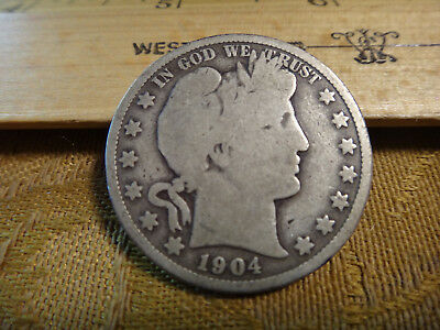 1904-O United States Barber Silver Half Dollar 50c - Free S&H USA