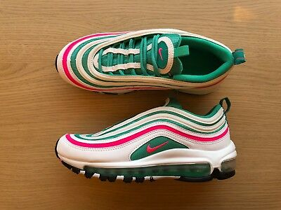 8e39a5ecf2421 NIKE AIR MAX 97 Gs - Uk Size 3.5 -  south Beach  White pink green ...
