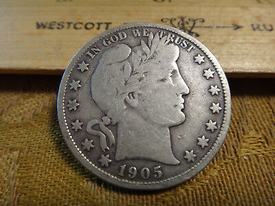 1905-S United States Barber Silver Half Dollar 50c - Free S&H USA