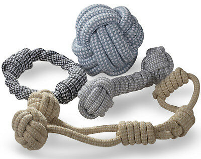 Knitted Dog Rope Toy Braided Cotton Chew Teething Tug-Pull Fetch Bone Play