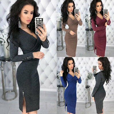 UK Womens Bodycon Party Deep V Neck Ladies Knitted Button Wrap Midi Jumper Dress