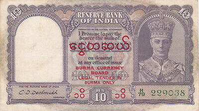 10 Rupees Fine Banknote From Burma On  British India Note1945!pick-28!! Rare