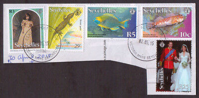 2015 Seychelles Royalty and Wildlife stamps x 5 used on postcard piece