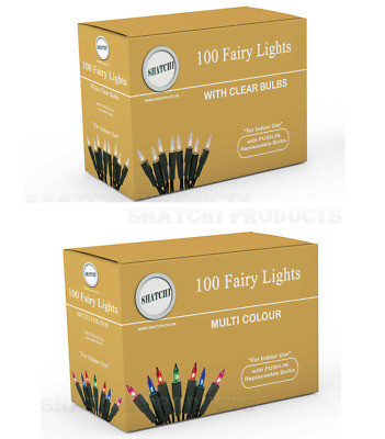 100 Traditional Christmas Fairy Lights Clear Multi Xmas Bulbs Tree Decorations