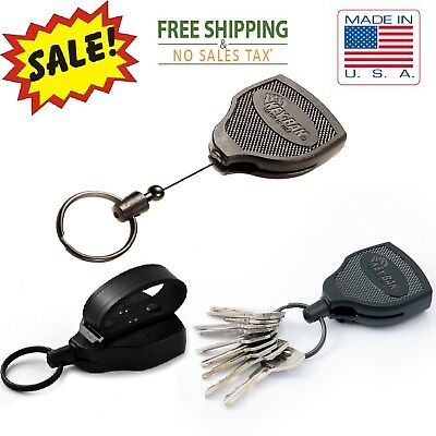 Heavy Duty Retractable Key Holder With Leather Chain Reel Recoil Belt ID Loop US