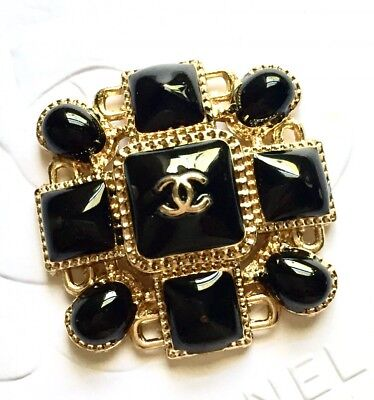 One Large Black Enamel Chanel Gold Tone Square Metal Button, 35mm