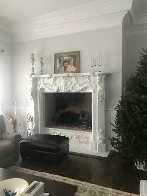 Beautiful Hand Carved Marble Estate Victorian Style Fireplace Mantel - Jp59