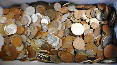 #54. ABOUT 4.5  KILOGRAMS  POOR PENNY & WORLD  COINS - SECONDS FOR CRAFT etc