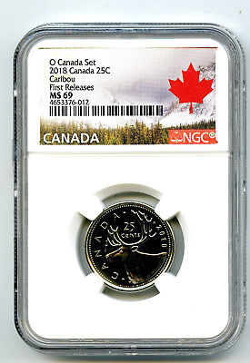2018 O Canada 25 Cent Quarter Ngc Ms69 First Releases Rare Registry Top Pop=5