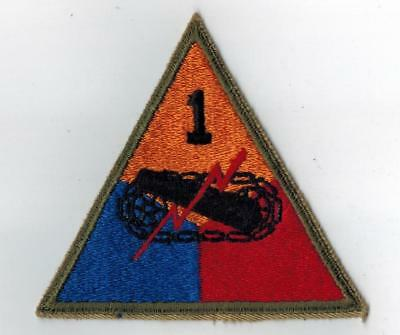 US WWII 1st First Armored Division Patch Cut Edge Original WW2 Mose Collection