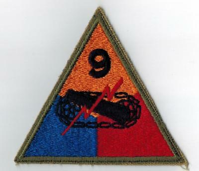 US WWII 9th Armored Division Patch Cut Edge Original WW2 Mose Collection NICE QQ