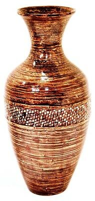 Heather Ann Creations Terry 25 in. Spun Bamboo Floor Vase - Distressed Brown