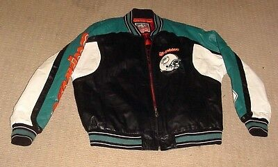 Miami Dolphins Leather Bomber Jacket G-Iii Carl Banks Quarterback Size Xl 538b35e5d