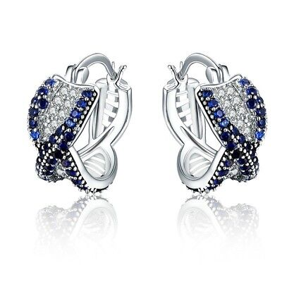 925 Silver Women's Blue Crystal Earrings Fashion Stud Earrings Jewelry Ear Stud